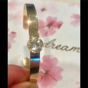 GOLD TONE with ROUND CRYSTAL CUFF BANGLE BRACELET